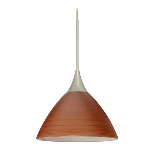 Besa Lighting Besa Lighting Domi Satin Nickel LED Mini-Pendant Light with Bell Shade 1XT-1743CH-LED-SN