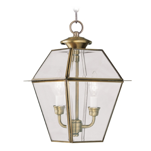 Livex Lighting Livex Lighting Westover Antique Brass Outdoor Hanging Light 2285-01