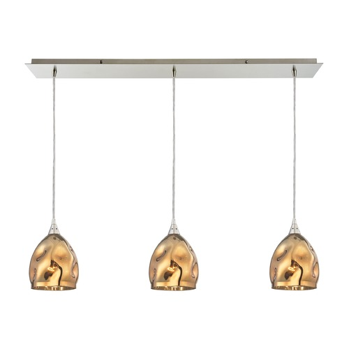 Elk Lighting Elk Lighting Niche Satin Nickel Multi-Light Pendant with Bowl / Dome Shade 31597/3LP