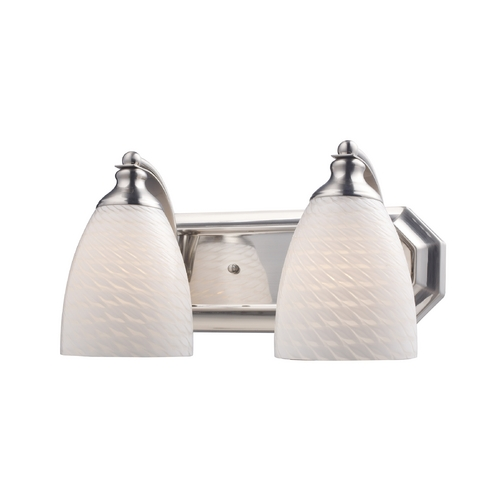 Elk Lighting Bathroom Light with Art Glass in Satin Nickel Finish 570-2N-WS
