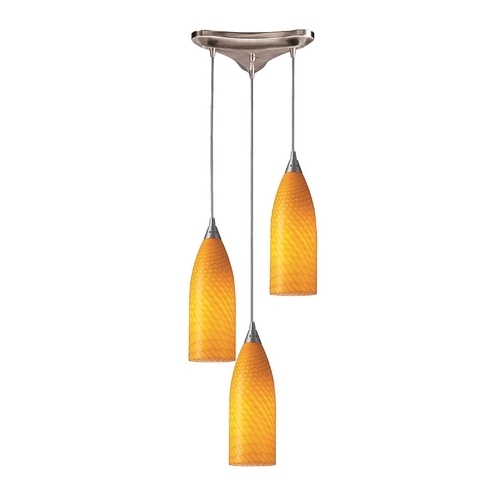 Elk Lighting Modern Multi-Light Pendant Light with Yellow Glass and 3-Lights 522-3CN