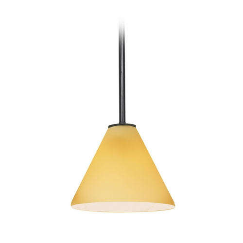 Access Lighting Modern Mini-Pendant Light with Amber Glass 28004-2R-ORB/AMB