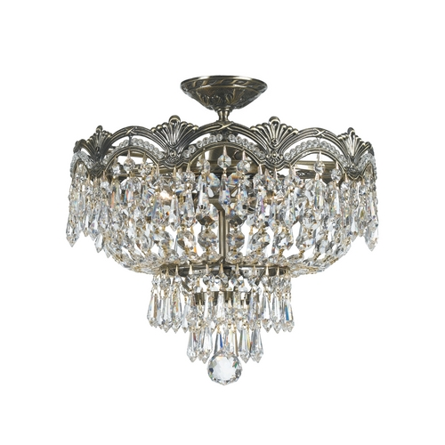 Crystorama Lighting Crystal Semi-Flushmount Light in Historic Brass Finish 1483-HB-CL-MWP