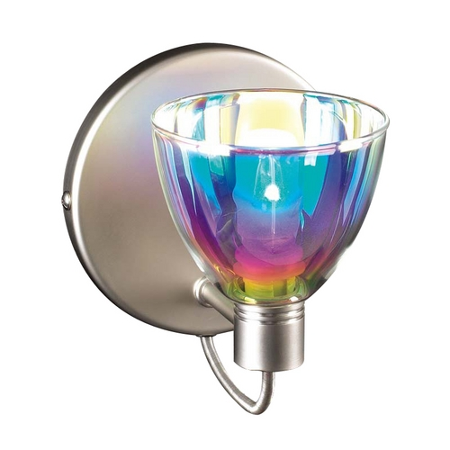PLC Lighting Modern Sconce Wall Light with Multi-Color Glass in Satin Nickel Finish 247 SN