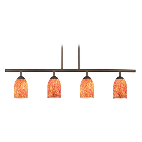 Design Classics Lighting Modern Island Light with Multi-Color Glass in Neuvelle Bronze Finish 718-220 GL1012D