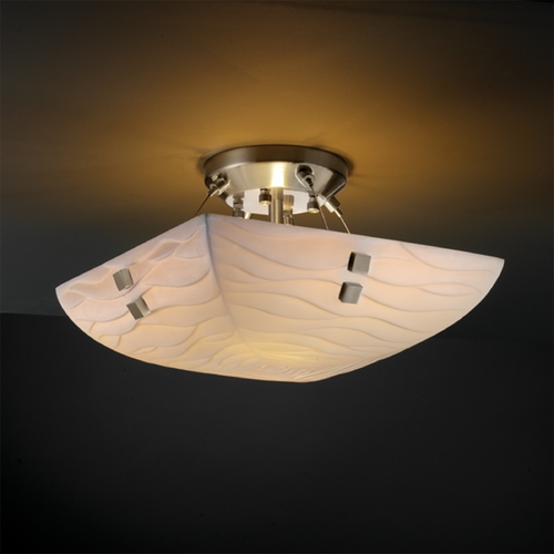 Justice Design Group Justice Design Group Porcelina Collection Semi-Flushmount Light PNA-9650-25-WAVE-NCKL-F2