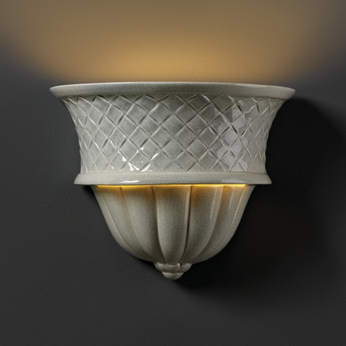 Justice Design Group Sconce Wall Light in Celadon Green Crackle Finish CER-1485-CKC
