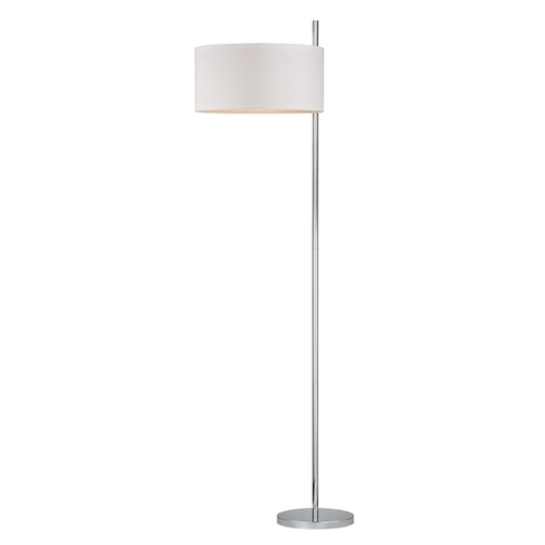 Dimond Lighting Modern Floor Lamp with White Shades in Polished Nickel Finish D2473