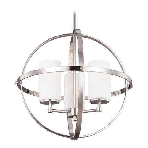 Sea Gull Lighting Alturas 3 Lt. Brushed Nickel Mini-Chandelier with Etched White Cylinder Glass 3124603-962