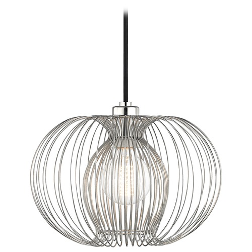Mitzi by Hudson Valley Mid-Century Modern Pendant Light Oval Shade Polished Nickel Mitzi Jasmine by Hudson Valley H181701S-PN