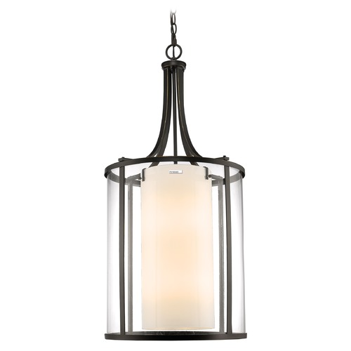 Z-Lite Z-Lite Willow Olde Bronze Pendant Light with Cylindrical Shade 426-12-OB