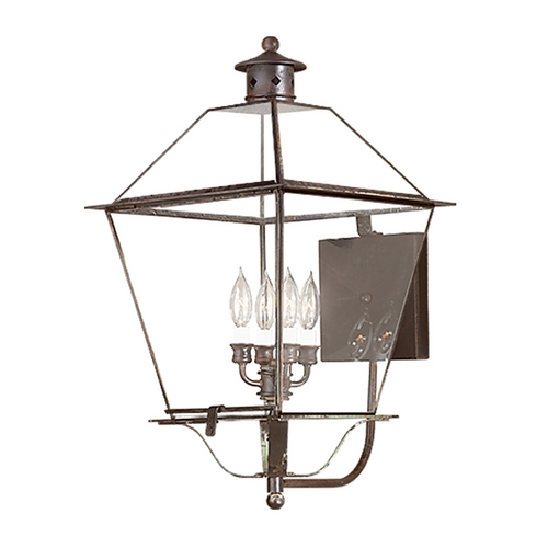 Troy Lighting Outdoor Wall Light with Clear Glass in Charred Iron Finish BCD8960CI