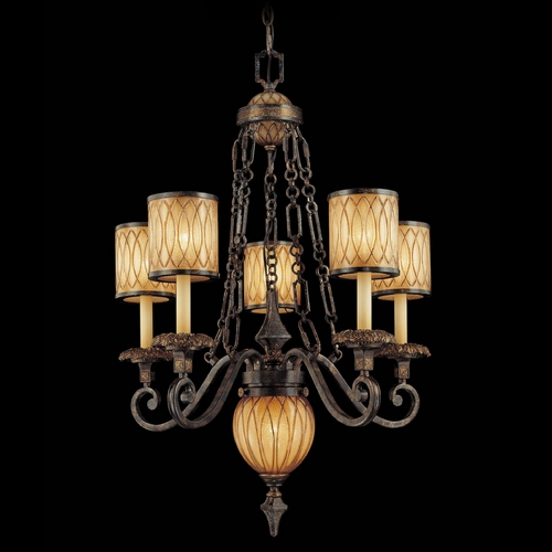 Metropolitan Lighting Crystal Chandelier with Amber Art Glass in Patina / Gold Leaf Finish N6495-270