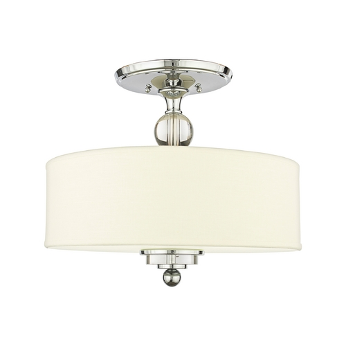 Quoizel Lighting Modern Semi-Flushmount Light with White Shade in Polished Chrome DW1717C
