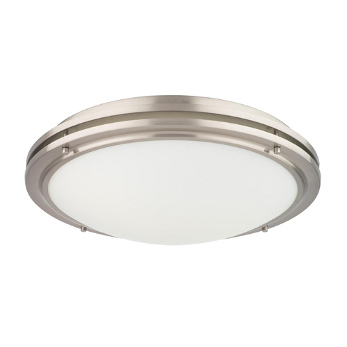 Philips Lighting Modern Flushmount Light with White Glass in Satin Nickel Finish F245236U