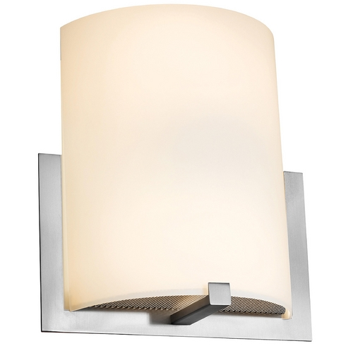 Access Lighting Modern Sconce Wall Light with White Glass in Brushed Steel Finish 20445-BS/OPL