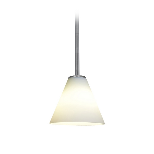 Access Lighting Modern Mini-Pendant Light with White Glass 28004-2R-BS/WHT