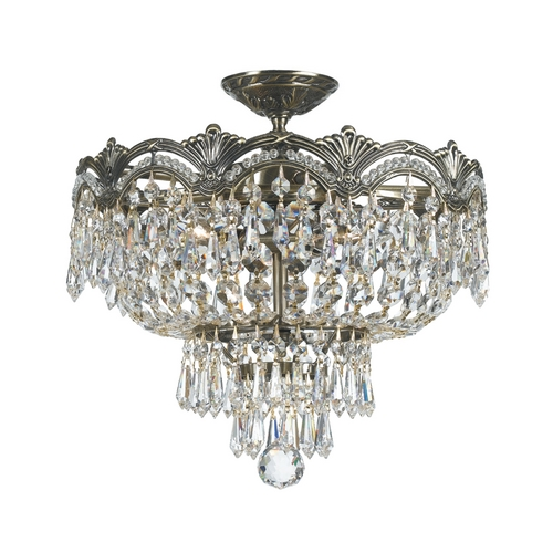 Crystorama Lighting Crystal Semi-Flushmount Light in Historic Brass Finish 1483-HB-CL-S