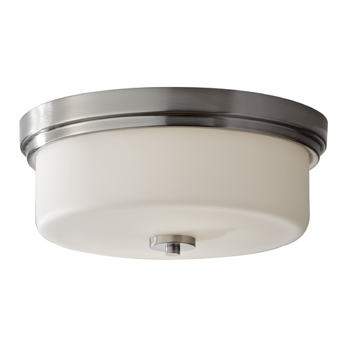 Feiss Lighting Modern Flushmount Light with White Glass in Brushed Steel Finish FM370BS