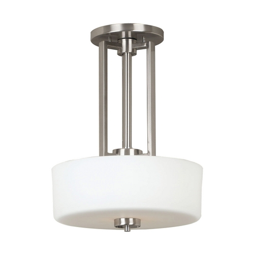 Kenroy Home Lighting Modern Drum Pendant Light with White Glass in Brushed Steel Finish 10180BS