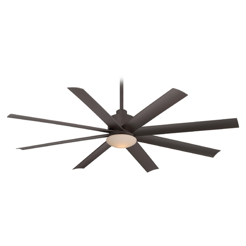 Minka Aire Modern Ceiling Fan with Light with White Glass in Oil Rubbed Bronze Finish F888-ORB