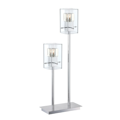 Lite Source Lighting Lite Source Aida Chrome Table Lamp with Rectangle Shade LS-22587