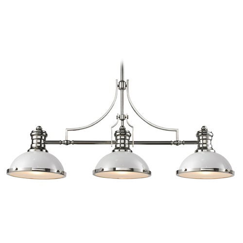 Elk Lighting Elk Lighting Chadwick Gloss White/polished Nickel Island Light with Bowl / Dome Shade 66155-3