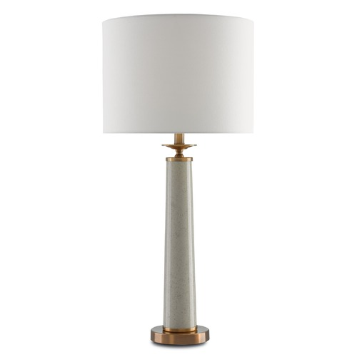 Currey and Company Lighting Currey and Company Rhyme Speckled Griffin Gray /antique Brushed Brass Table Lamp with Drum Shade 6000-0032
