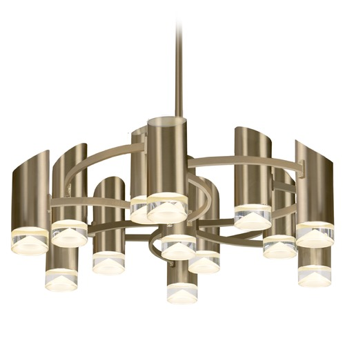 Kuzco Lighting Modern Vintage Brass LED Chandelier with Frosted Shade 3000K 6250LM CH9830-VB