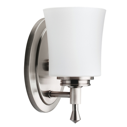 Kichler Lighting Kichler Sconce with White Glass in Brushed Nickel Finish 5359NI