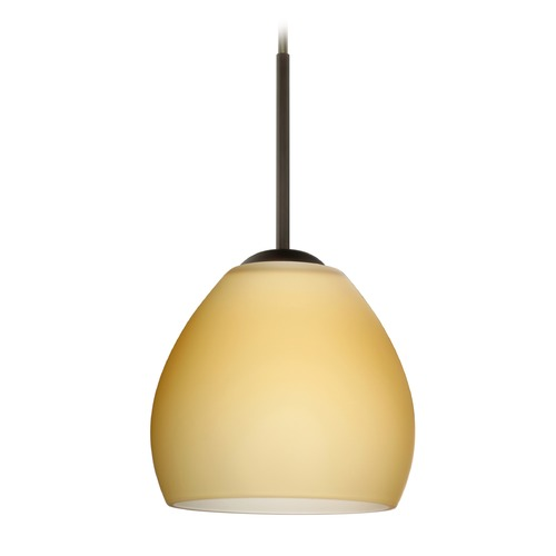 Besa Lighting Besa Lighting Bolla Bronze Mini-Pendant Light with Bowl / Dome Shade 1BT-4122VM-BR