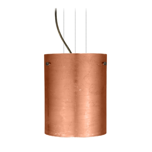 Besa Lighting Modern Pendant Light with Copper Glass in Bronze Finish 1KG-4006CF-BR