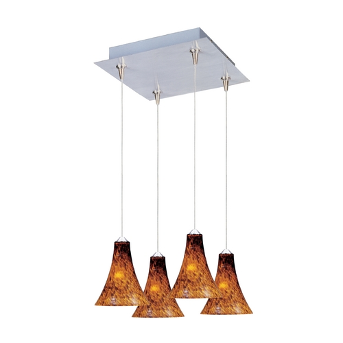 ET2 Lighting Modern Low Voltage Multi-Light Pendant Light with Amber Glass and 4-Lights E94733-104SN