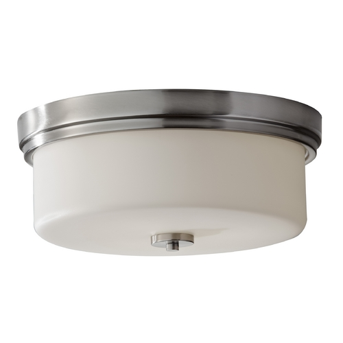 Feiss Lighting Modern Flushmount Light with White Glass in Brushed Steel Finish FM371BS