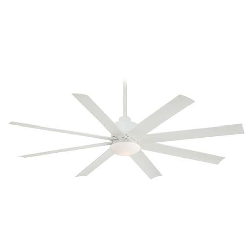 Minka Aire Modern Ceiling Fan with Light with White Glass in Flat White Finish F888-WHF