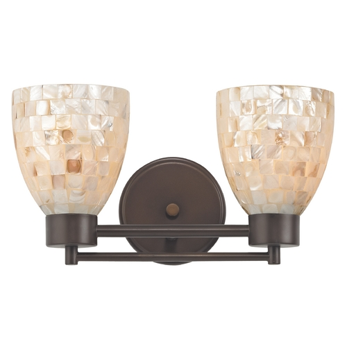 Design Classics Lighting Bathroom Light with Mosaic Glass in Bronze Finish 702-220 GL1026MB