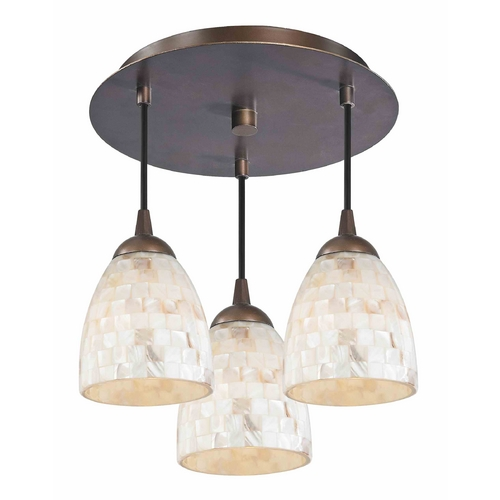 Design Classics Lighting 3-Light Semi-Flush Ceiling Light in Bronze Finish - Bronze Finish 579-220 GL1026MB