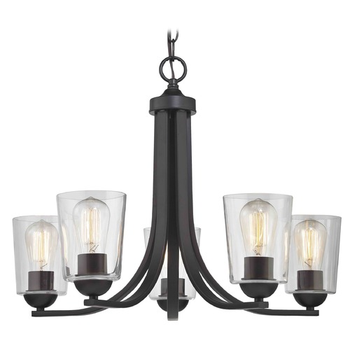 Design Classics Lighting Bronze Chandelier with Clear Cylinder Glass and 5-Lights 584-220 GL1027-CLR