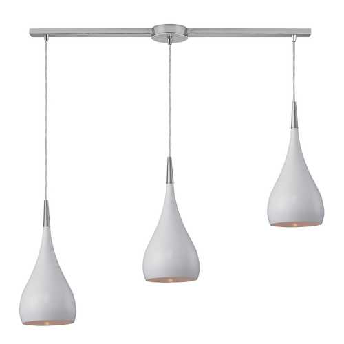 Elk Lighting Modern Multi-Light Pendant Light with White Shades and 3-Lights 31341/3L-WH