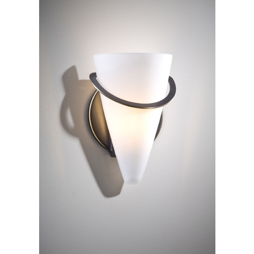 Holtkoetter Lighting Holtkoetter Modern Sconce Wall Light with White Glass in Hand-Brushed Old Bronze Finish 2977 HBOB SW