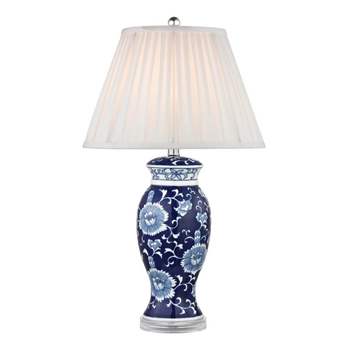 Dimond Lighting Table Lamp with White Shades in Blue and White Hand Paint Finish D2474