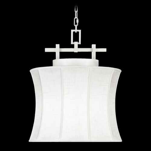 Fine Art Lamps Fine Art Lamps Black + White Story White Satin Lacquer Pendant Light with Drum Shade 233449-5ST
