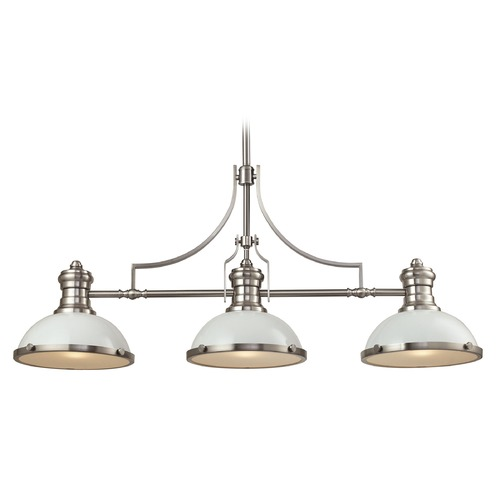 Elk Lighting Elk Lighting Chadwick Gloss White/satin Nickel Island Light with Bowl / Dome Shade 66165-3