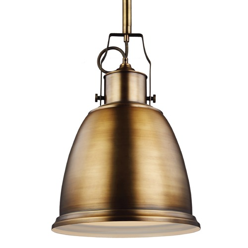 Feiss Lighting Feiss Hobson Aged Brass Pendant Light P1359AGB