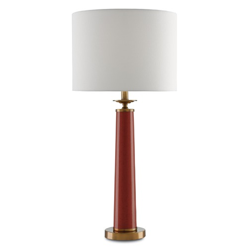 Currey and Company Lighting Currey and Company Rhyme Speckled Rave Red /antique Brushed Brass Table Lamp with Drum Shade 6000-0033