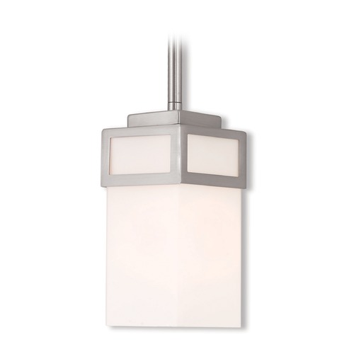 Livex Lighting Livex Lighting Harding Brushed Nickel Mini-Pendant Light with Rectangle Shade 40191-91
