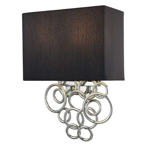 George Kovacs Lighting Modern Sconce Wall Light with Black Shades in Chrome Finish P400-3-077