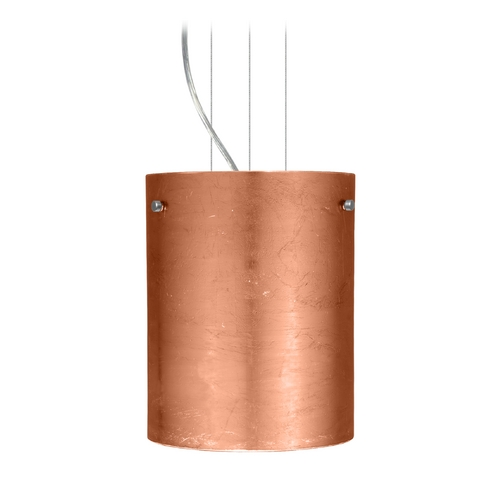 Besa Lighting Modern Pendant Light with Copper Glass in Satin Nickel Finish 1KG-4006CF-SN