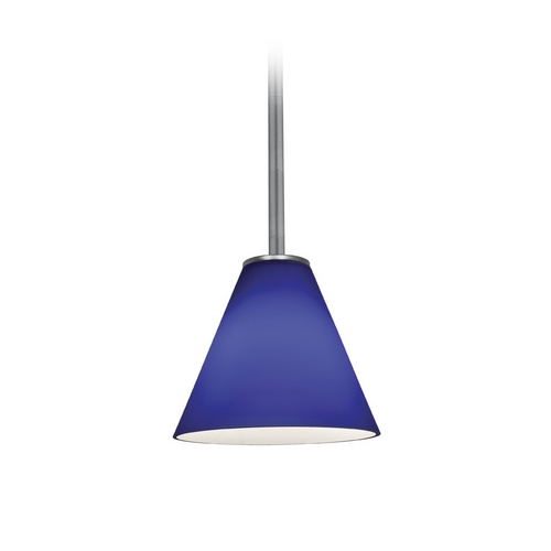 Access Lighting Modern Mini-Pendant Light with Blue Glass 28004-2R-BS/COB