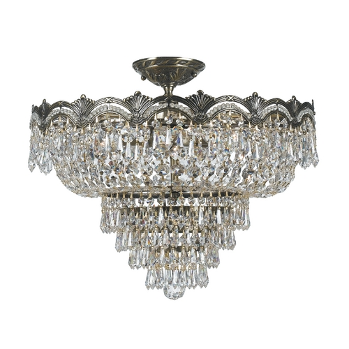 Crystorama Lighting Crystal Semi-Flushmount Light in Historic Brass Finish 1485-HB-CL-MWP